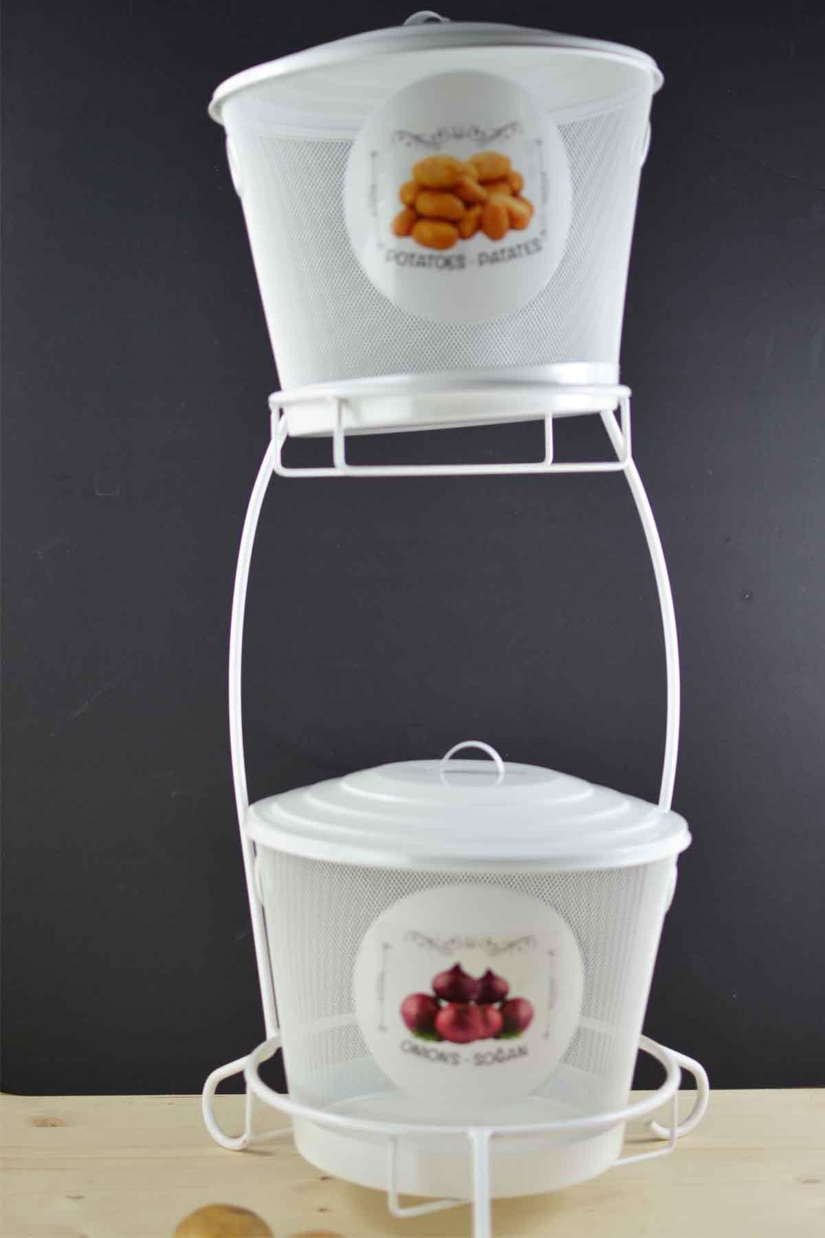 Sepetcibaba - Ferforje Patates & Soğan Kutusu Beyaz