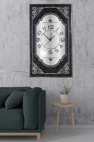 - Gri-Siyah Şal Desen Duvar Saati