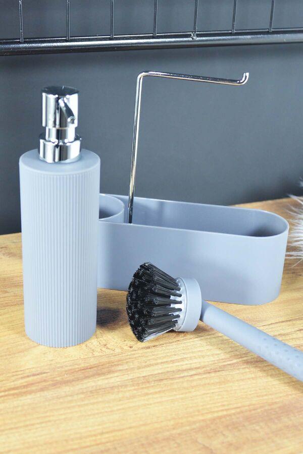 Harper - Fırçalı Standlı Sıvı Sabunluk Gri