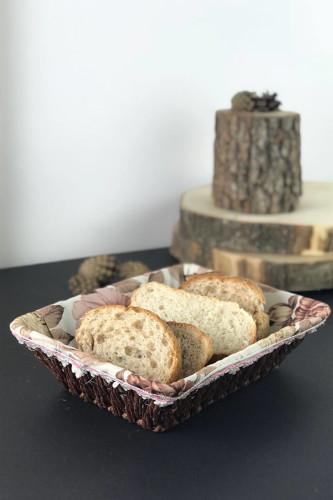 Sepetcibaba - Hasır Bezli Dikdörtgen Ekmek Sepeti
