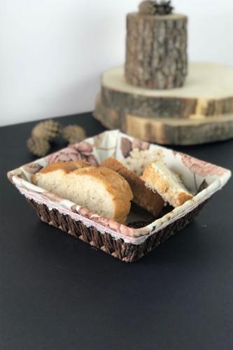 Sepetcibaba - Hasır Bezli Kare Ekmek Sepet