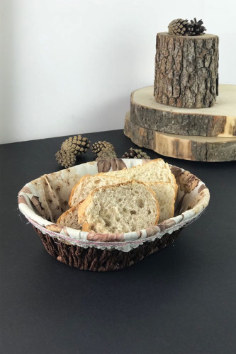 Sepetcibaba - Hasır Bezli Oval Ekmek Sepeti