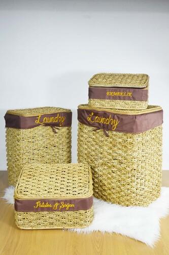 - Hasır Çamaşır Sepeti + Ekmeklik ve Patates Soğan Sepeti