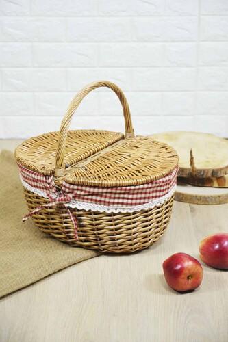 - Hasır Kapaklı Piknik Sepeti