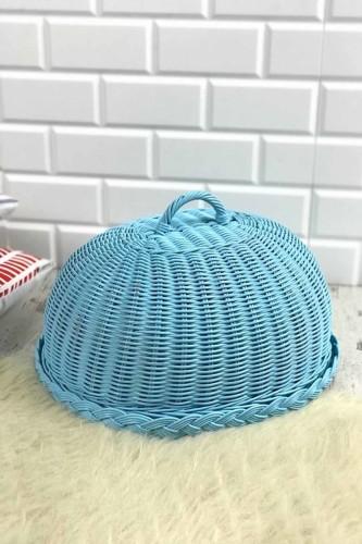 - Hasır Kek Fanusu Oval Mavi