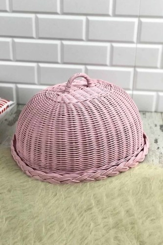 - Hasır Kek Fanusu Oval Pembe