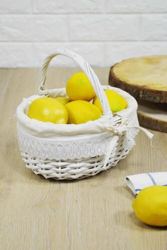- Hasır Kulplu Piknik Sepeti Beyaz Küçük