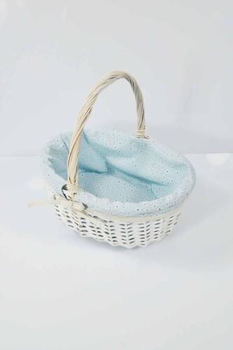 - Hasır Kulplu Piknik Sepeti Beyaz Orta