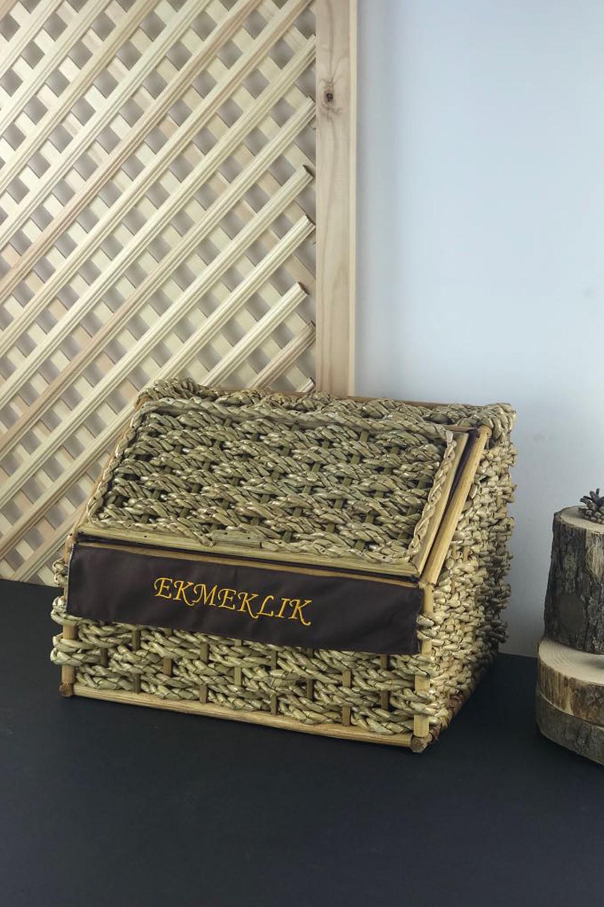 Sepetcibaba - Hasır Örgü Krem Dik Ekmek Sepeti