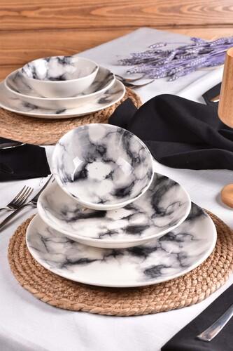 - İnter - 12 Parça Porselen Yemek Takımı Siyah