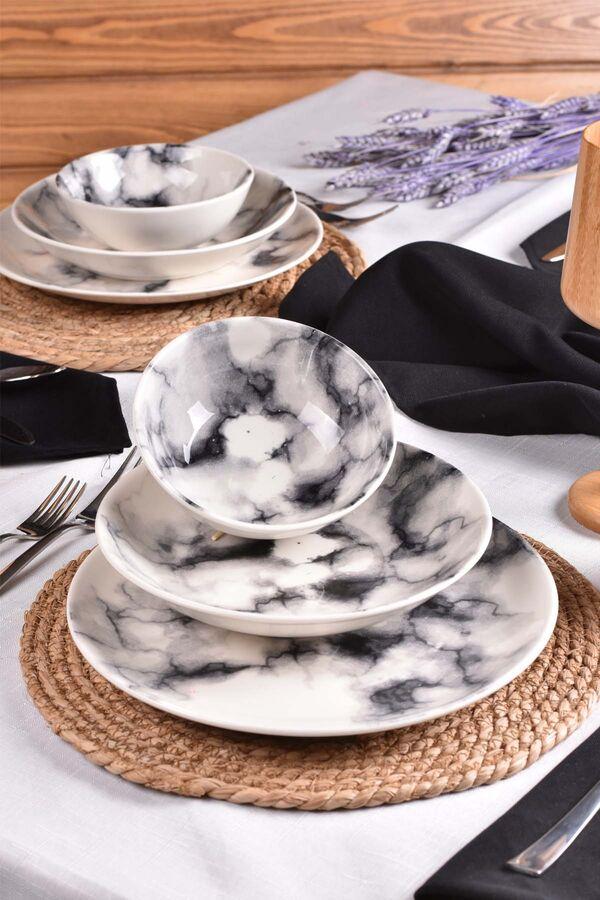İnter - 12 Parça Porselen Yemek Takımı Siyah
