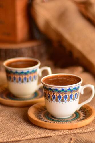 - Kallavi - 2 Kişilik Kahve Takımı Desen Altlıklı Mavi