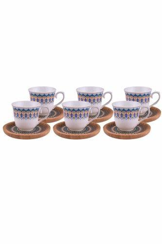 Kallavi - 6 Kişilik Kahve Takımı Desenli