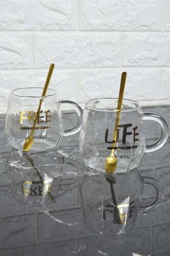 - Life - 2 Kişilik Cam Kupa Seti