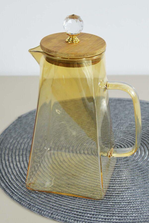 Lilyum - Gold Bambu Kapaklı Cam Sürahi