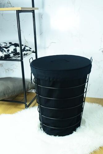 - Linen - Metal Çamaşır Sepeti Siyah