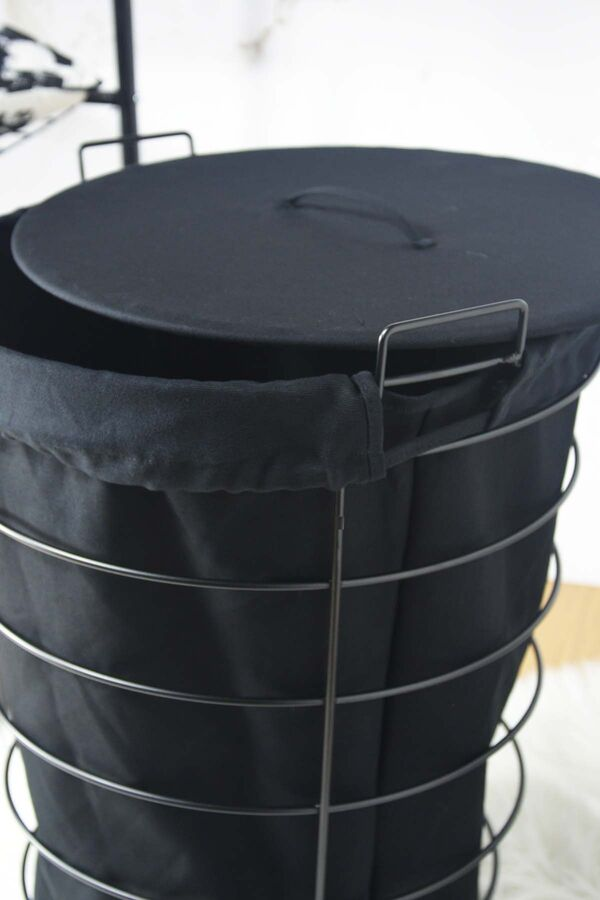 Linen - Metal Çamaşır Sepeti Siyah