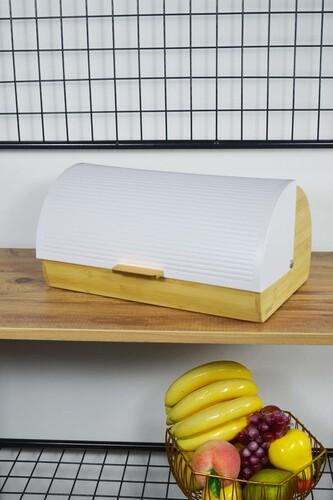 - Lüx - Bambu Metal Ekmek Dolabı Beyaz