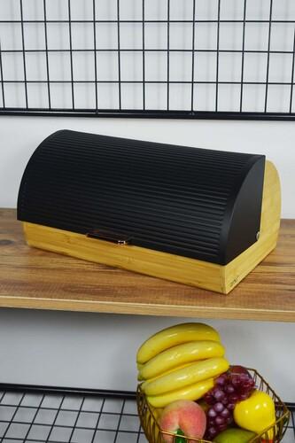 - Lüx - Bambu Metal Ekmek Dolabı Siyah