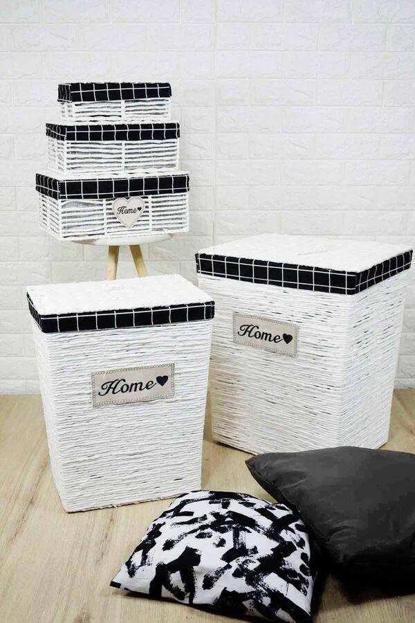 Lüx Hasır Çamaşır Sepeti 5 Li Beyaz