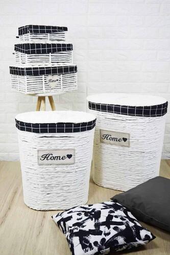 - Lüx Hasır Çamaşır Sepeti 5 Li Beyaz Oval