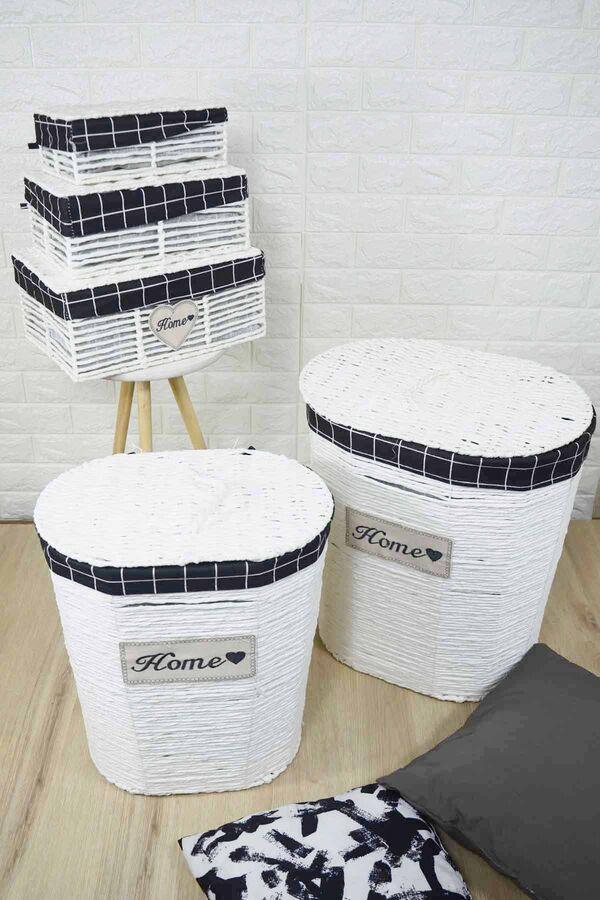 Lüx Hasır Çamaşır Sepeti 5 Li Beyaz Oval