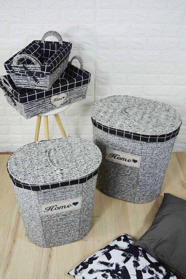 Lüx Hasır Çamaşır Sepeti 5 Li Gri-Siyah