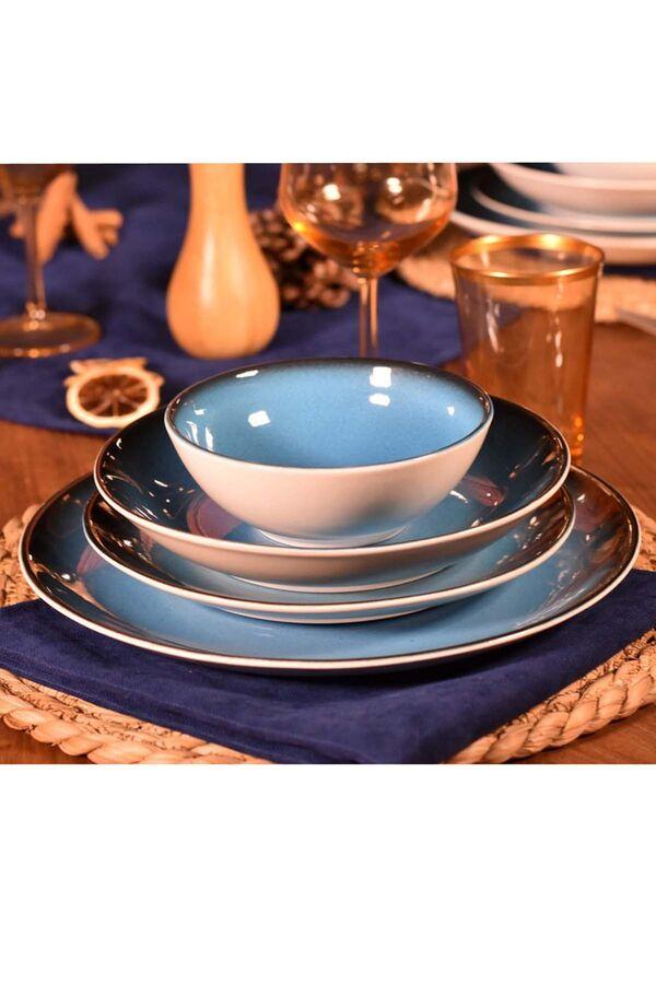 Mare 24 Parça Bone Yemek Takımı Mavi