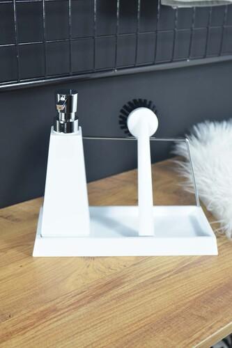 - Melena - Fırçalılı Standlı Sıvı Sabunluk Beyaz
