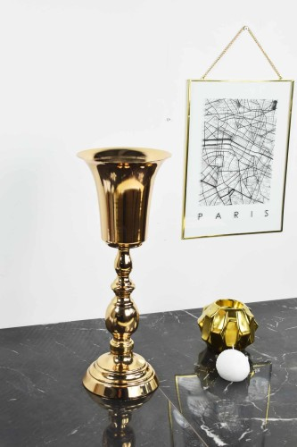 - Metal Vazo Büyük Gold