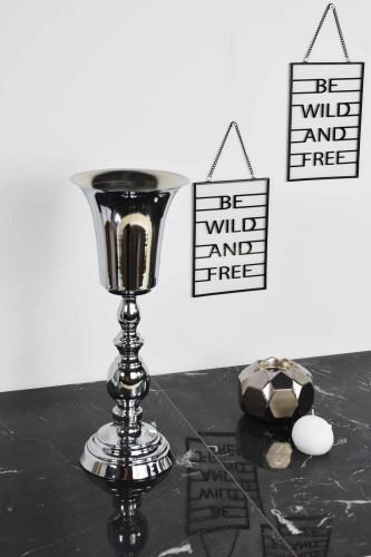 - Metal Vazo Büyük Gümüş