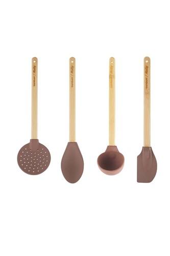 - Molly - 4 Parça Mutfak Seti Kahverengi