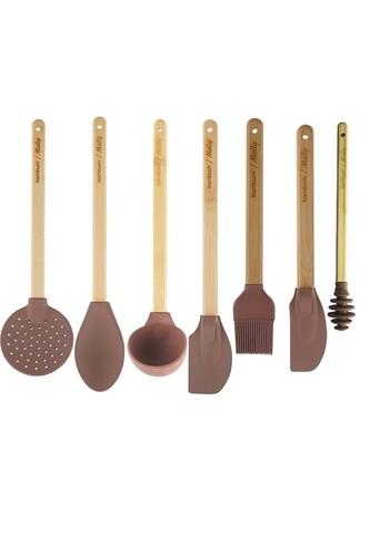 - Molly - 7 Parça Silikon Mutfak Seti Kahverengi