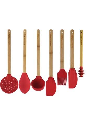 - Molly - 7 Parça Silikon Mutfak Seti Kırmızı