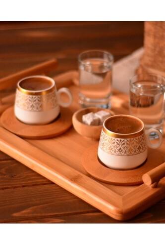 - Ottoman - 2 Kişilik Kahve Takımı Altın Desenli