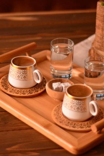 - Ottoman - 2 Kişilik Kahve Takımı Desen Altlıklı
