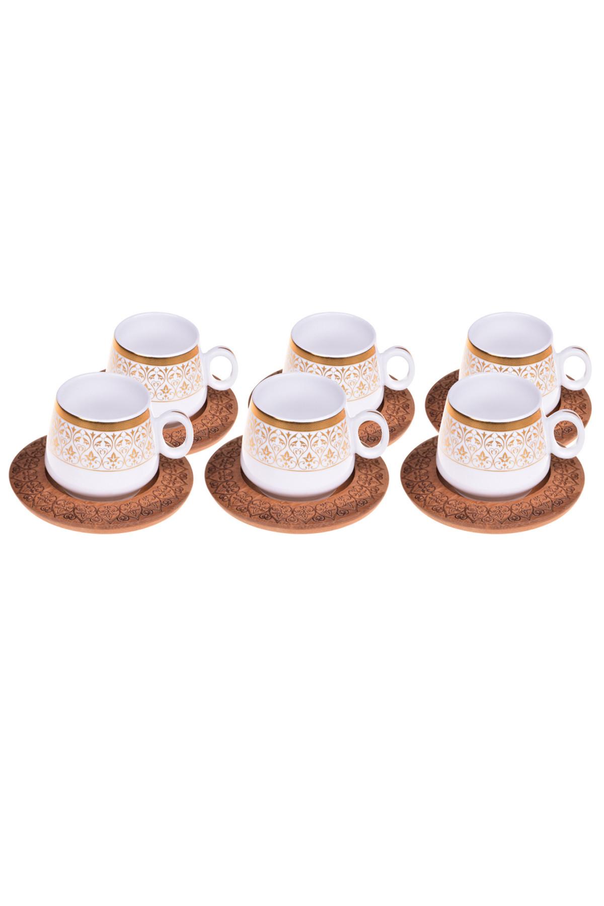 Sepetcibaba - Ottoman - 6 Kişilik Kahve Takımı Desen Altlıklı