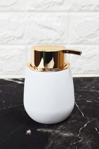 - Oval Akrilik Sıvı Sabunluk Beyaz