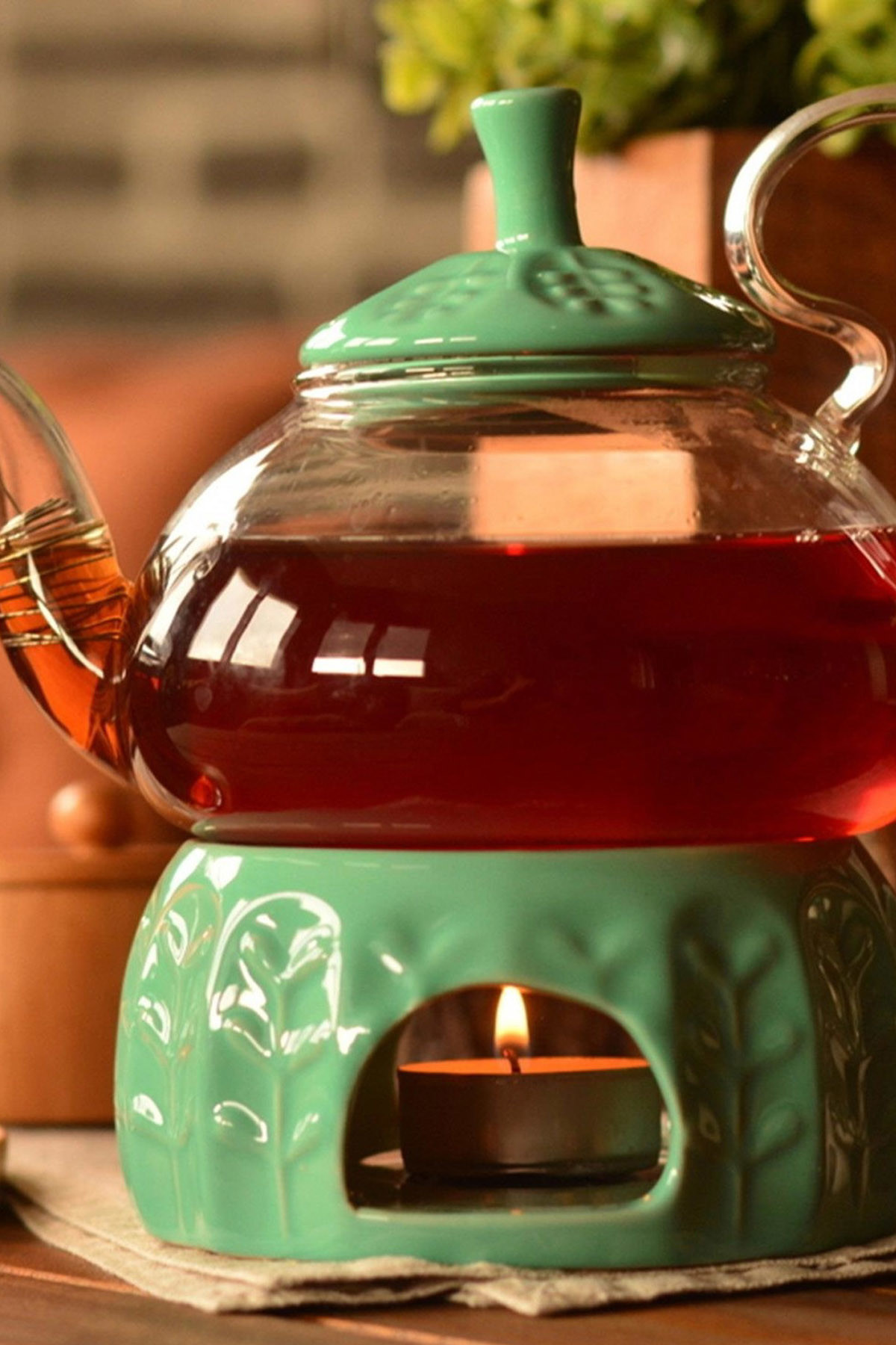 Sepetcibaba - Palida - Isıtıcılı Süzgeçli Demlik 600 ml Yeşil