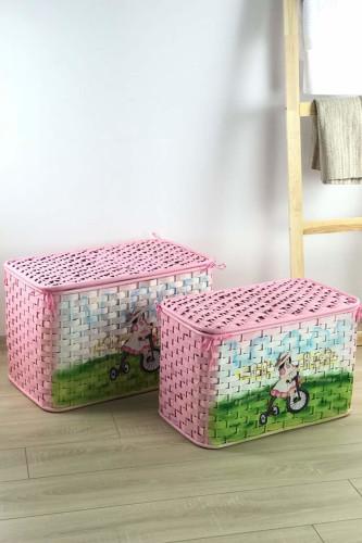 Sepetcibaba - Pembe Büyük&Orta Oyuncak Sepeti
