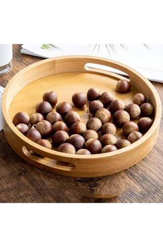 - Pety - Bambu Yuvarlak Tepsi 30 Cm