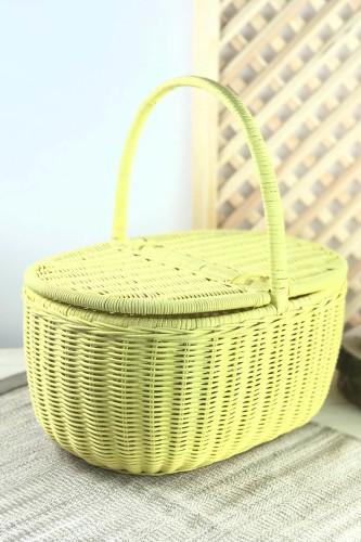 Sepetcibaba - Piknik Sepeti Büyük Boy Sarı