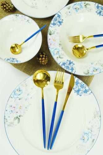 - Pink&More 36 Parça Çatal Bıçak Set Mavi