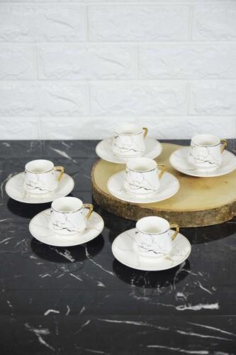 - Porselen Fincan Seti Beyaz 6 Kişilik