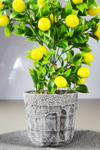- Porselen Saksılı Yapay Limon Ağacı