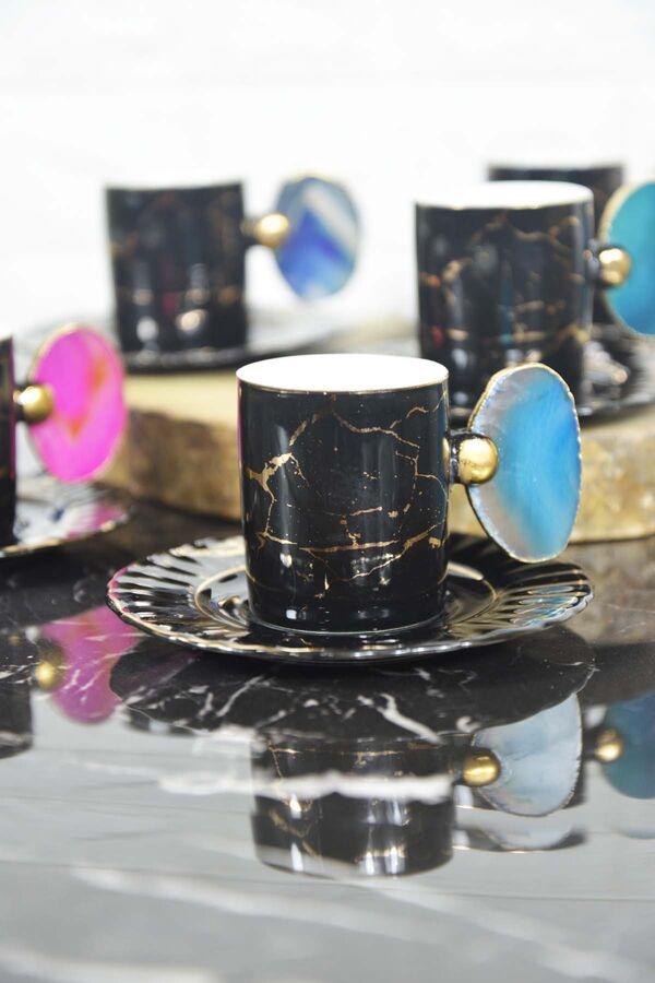 Porselen Taşlı Fincan Siyah 6 Kişilik