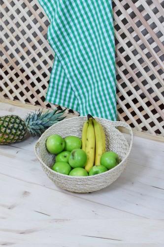 - Rattan Hasırı Meyve Sepeti Kulplu