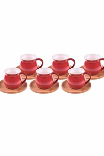 - Selam - 6 Kişilik Kahve Fincan Takımı Kırmızı