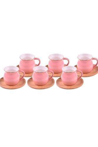 - Selam - 6 Kişilik Kahve Fincan Takımı Pembe