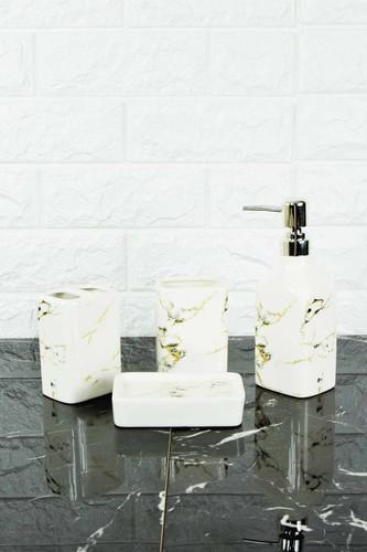 - Sıvı Sabunluk Seti Mermer Desen Kare